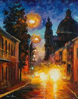 A Time When The City Sleeps by Leonid Afremov by Leonidafremov