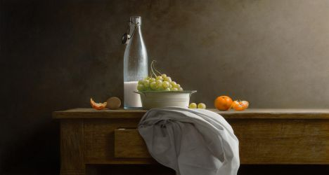 Old Milk bottle and Grapes by m-v-c