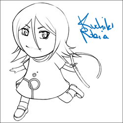 Chibi Rukia of d00m - Lineart by kimiko