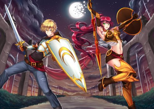 Jaune Arc and Pyrrha Nikos by ADSouto