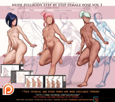 fullbody female pose step by step .promo. by sakimichan