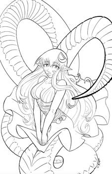 Monster Musume - Miia line art by teamzoth