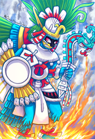 Huitzilopochtli - Fierce like Fire, Sky Blue by Shi-Gu
