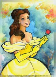 Belle Holding a Rose by manony