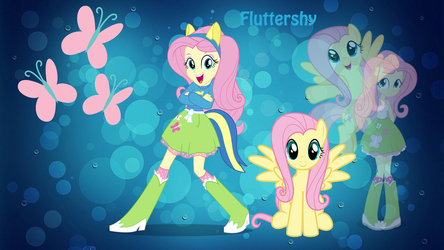 (Equestria Girl) Fluttershy Wallpaper by Shing385629