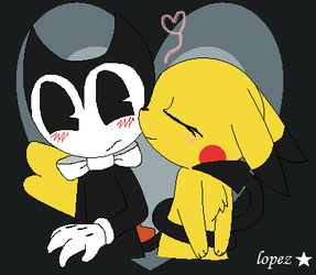 pikachu kiss cheek Bendy by lopez765