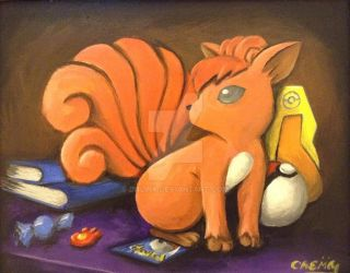 A Small Painting of a Vulpix by DNLINK