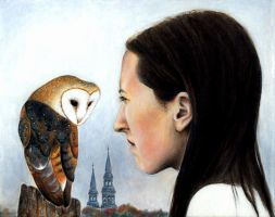 Laurence with church owl by KetsiaLessard