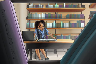 Geena At the library by MalfinisProductions