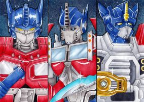 Three generations of Optimus Prime by mewtwo-love
