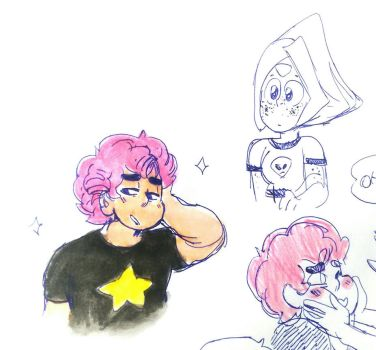 My husband with pink hair by ManuhBosque