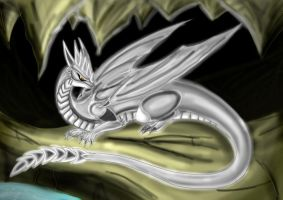 Silver Dragon in a cave by Lord-Lavrahtheen