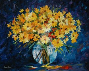 Yellow On Blue by Leonid Afremov by Leonidafremov