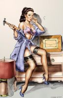 Gil Elvgren Ink study Colour by ShawnVanBriesen