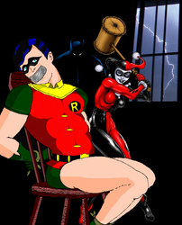 Robin trapped by Harley Quinn by holybearhug