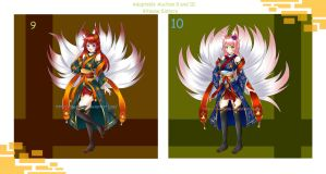Adoptable auction 9 and 10 kitsune sisters(closed) by chechoski