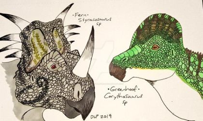 Fern Styracosaurus and Greenhoof Corythosaurus