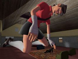 Giantess Female scout outgrowing house by ThatGUYGTS