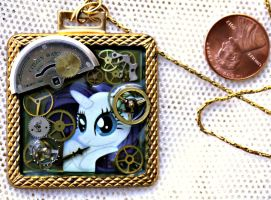My Little Pony Rarity Square Brass Necklace by elllenjean
