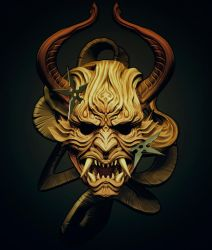 Demon mask design I did for tattoo by Sadania