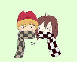 Request: Scarf snuggle by Cherry-the-ninja