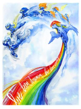 Rainbow Dash and the Wonderbolts by fleebites
