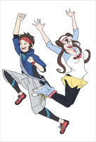 Pokemon Trainers Nate and Rosa by Kendra-candraw