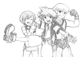 Kingdom Hearts Trio by gndagnor