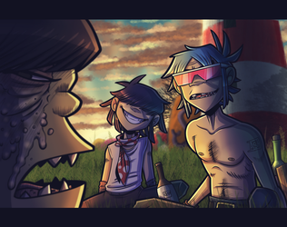 That's supposed to be lucky ya know! - Gorillaz by Ashesfordayz