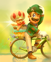 Vintage Luigi and Toad by themeisterart