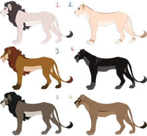 Lions and Lionesses ADOPT AUCTION OPEN (0/6) by CosplayChick1991