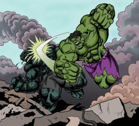 Hulk vs The Abomination COLOR by clagala