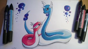 Dragonair and Shiny Dratini