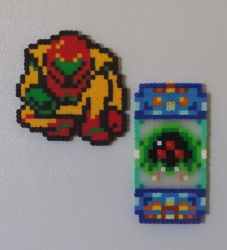 Metroid and Samus Perler Magnets by PracticallyGeeky