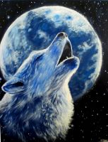 Wolf and moon by AlbertoCN