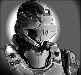 Cyber Police of the 24th Century (Grayscale) by TheJoshMatlock