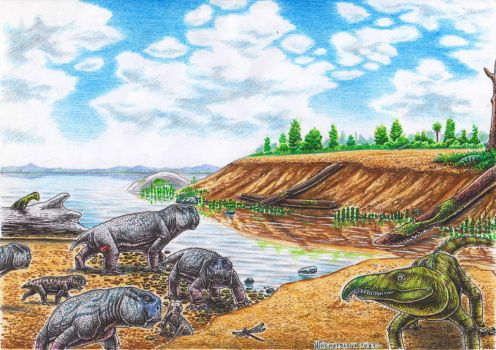 Early Triassic, South Africa by Xiphactinus
