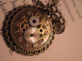 Brass Clock Steampunk Necklace by unoriginalsinner