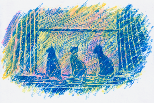 Three Cats at the Window by Verbeley