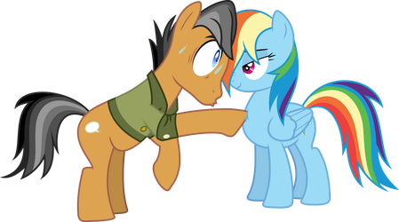 Quibble Pants and Rainbow Dash poke by Dusk2k