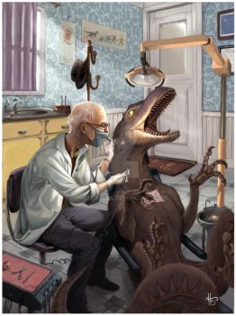 Dinosaur at the dentist by anatomista