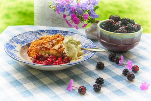 Blackberries and Cream Cobbler by cedarlili