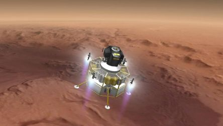 Mars Lander Above Gale Crater by francisdrakex