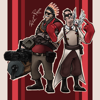 COMISSION - TF2 Heavy and Medic by reynaruina