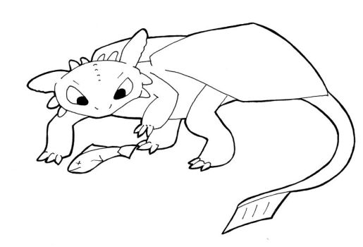 Line Art - Toothless and Fish by sehirsch