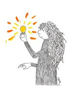 Gertrude lights a lightbulb by lunavalse