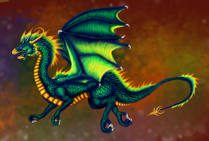 Green dragon digital by dianadragon