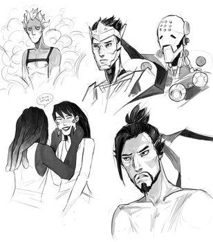 Overwatch mini sketchdump by Kociepierogi