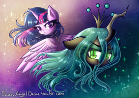 Purple vs Green by ChaosAngelDesu