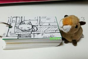 A doodle a day - sleeping on the Tokyo train by Merc007